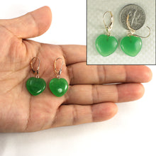 Load image into Gallery viewer, 14k Yellow Solid Gold 15mm Heart Shape Green Jade Lever Back Earrings