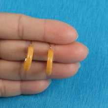 Load image into Gallery viewer, 14k Solid Yellow Gold Hook Earrings Made of Yellow Jade 4 x 20 mm Tube Ring