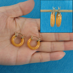 14k Solid Yellow Gold Hook Earrings Made of Yellow Jade 4 x 20 mm Tube Ring