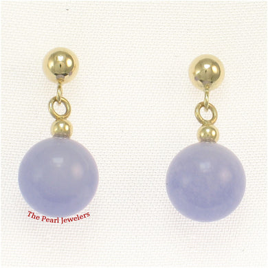 14k-Yellow-Gold-Ball-Dangle-Lavender-Jade-Bead-Stud-Earrings