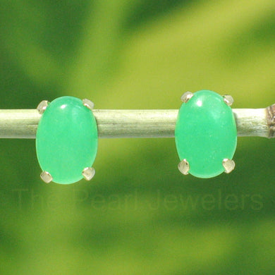 14k-Yellow-Gold-Cabochon-Oval-Shaped-Green-Jade-Stud-Earrings
