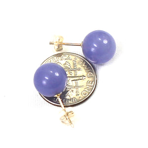 14k Yellow Solid Gold Post & Back 10mm Round Ball Lavender Jade Stud Earrings