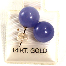 Load image into Gallery viewer, 14k Yellow Solid Gold Post & Back 10mm Round Ball Lavender Jade Stud Earrings