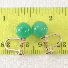 Load image into Gallery viewer, Green Jade 14k Yellow Solid Gold Non Pierced French Screw Back Earrings