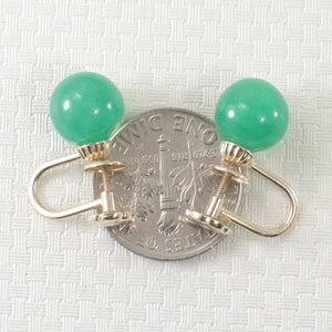 Green Jade 14k Yellow Solid Gold Non Pierced French Screw Back Earrings