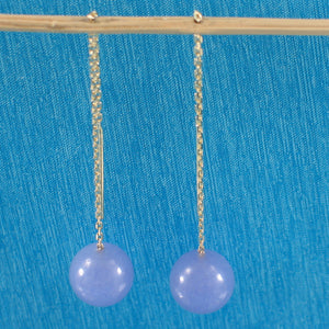 14k Solid Yellow Gold Threader Chain; 10mm Lavender Jade Bead Dangle Earrings