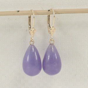 14k Yellow Solid Gold Lever Back Dangle Raindrop Lavender Jade Earrings
