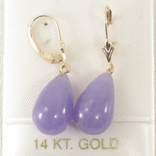 Load image into Gallery viewer, 14k Yellow Solid Gold Lever Back Dangle Raindrop Lavender Jade Earrings