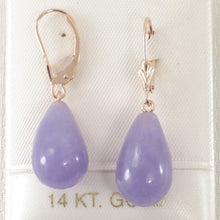 Load image into Gallery viewer, 14k Rose Solid Gold Lever Back Dangle Raindrop Lavender Jade Earrings