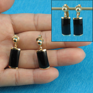 14k Yellow Gold Dangle Curved Shaped 9 x 18mm Black Onyx Clip Earrings