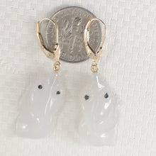 Load image into Gallery viewer, 14k Yellow Solid Gold Lever Back Dangle Hand Carved Goldfish Jade Earrings