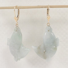 "Load image into Gallery viewer, 14k Yellow Gold Leverback ""Good Fortune"" Carp Shaped Jade Dangle Earrings"