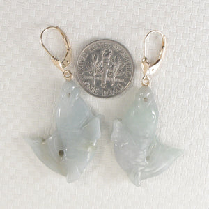 "14k Yellow Gold Leverback ""Good Fortune"" Carp Shaped Jade Dangle Earrings"