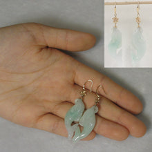 Load image into Gallery viewer, 14k Yellow Gold Hawaiian Plumeria Hook Dolphin Shaped Jade Dangle Earrings