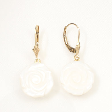 1110460-Rose-Shaped-Mother-of-Pearl-14K-Yellow-Gold-Leverback-Earrings