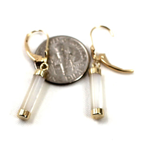 14k Yellow Gold Leverback Dangle White Mother of Pearl Earrings