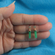 Load image into Gallery viewer, 14k Solid Yellow Gold Good Fortune Dangle 4mm Tube Green Jade Earrings