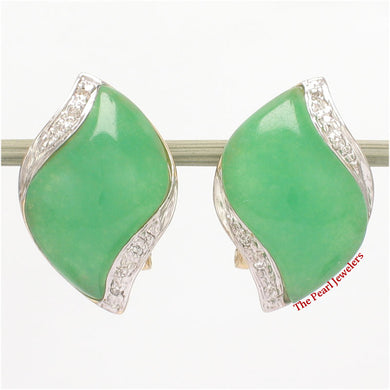 1187503-14k-YG-Omega-Clip-Diamond-S-Cabochon-Green-Jade-Earrings
