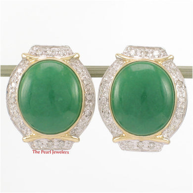 1187603-14k-Yellow-Gold-Omega-Clip-Diamond-Oval-Green-Jade-Earrings