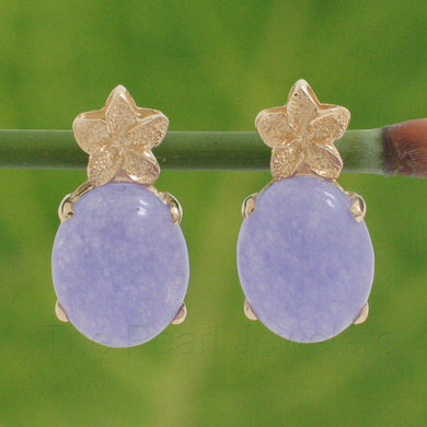 1188172-14k-Yellow-Gold-Hawaiian-Plumeria-Oval-Lavender-Jade-Stud-Earrings