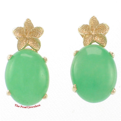 1188173-14k-Yellow-Gold-Hawaiian-Plumeria-Oval-Green-Jade-Stud-Earrings