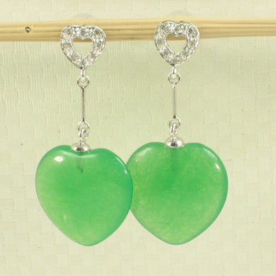 1198638- Diamonds-14k-White-Gold-Heart-Green-Jade-Dangle-Stud-Earrings
