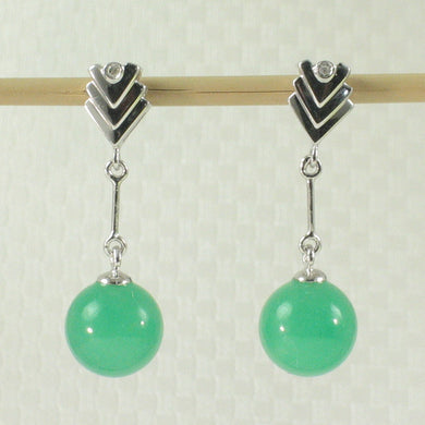 1198643-14k-White-Gold-Diamond-8mm-Beads-Green-Jade-Dangle-Earrings