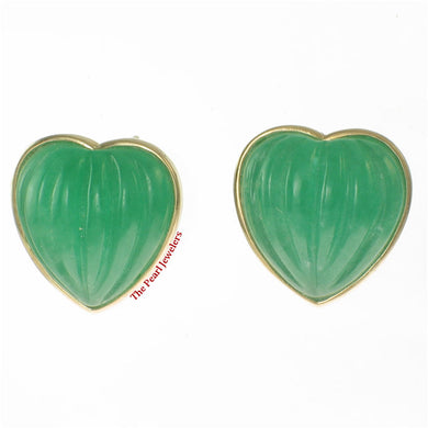 1198903-14k-Yellow-Gold-Shell-Heart-Shaped-Green-Jade-Stud-Earrings