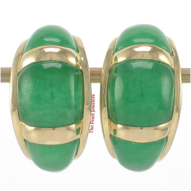 1199203-14k-Yellow-Gold- Omega-Clip-Cabochon-Shaped-Green-Jade-Earrings