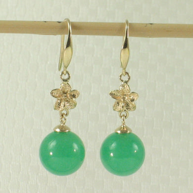 1199853-14k-Yellow-Gold-Hawaiian-Plumeria-Bead-Green-Jade-Hook-Earrings