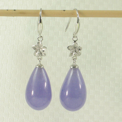 1199855-14kt-Gold-Hawaiian-Plumeria-Raindrop-Lavender-Jade-Hook-Earrings