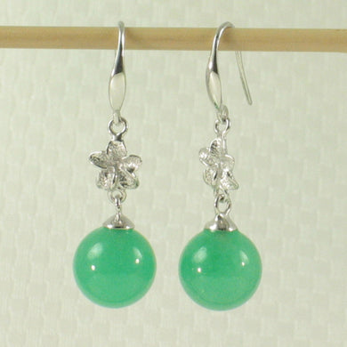 1199858-14k-White-Gold-Hawaiian-Plumeria-Bead-Green-Jade-Hook-Earrings