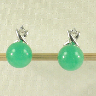 1199888-14k-White-Gold-X-Design-Diamond-8mm-Green-Jade-Stud-Earrings