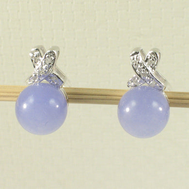 1199947-14k-White-Gold-X-Design-Diamond-Lavender-Jade-Stud-Earrings