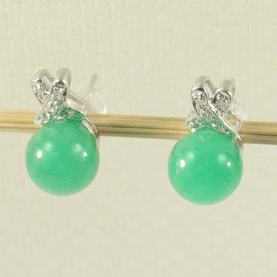 1199948-14k-White-Gold-X-Design-Diamond-8mm-Green-Jade-Stud-Earrings