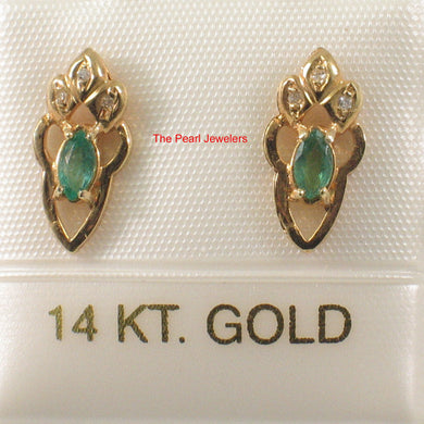 14k-Yellow-Gold-Genuine-Marquise-Green-Emerald-Diamond-Stud-Earrings