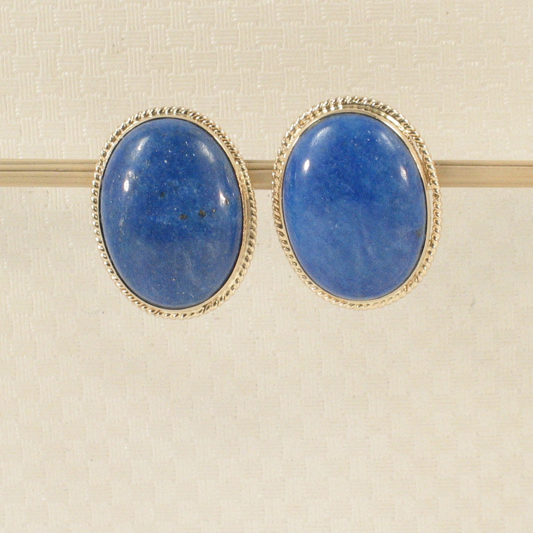 14k Solid Yellow Gold Genuine Oval Cabochon Lapis Lazuli Stud Earrings