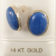 Load image into Gallery viewer, 14k Solid Yellow Gold Genuine Oval Cabochon Lapis Lazuli Stud Earrings