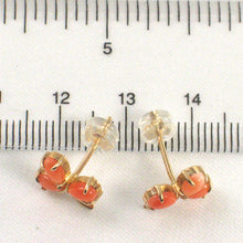 Load image into Gallery viewer, 14k Gold Pink Coral Flower Stud Earrings