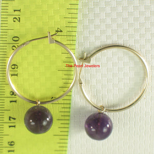 14k Yellow Gold 25mm X 1.25mm Hoop Sets 10mm Purple Amethyst Dangle Earrings