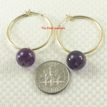 Load image into Gallery viewer, 14k Yellow Gold 25mm X 1.25mm Hoop Sets 10mm Purple Amethyst Dangle Earrings