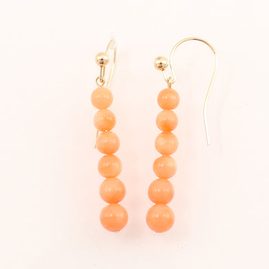 1300604-14K-Yellow-Gold-Pink-Coral-Beads-Hook-Earrings