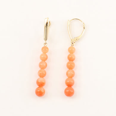 1300614-14K-Yellow-Gold-Pink-Coral-Beads-Dangling-Earrings