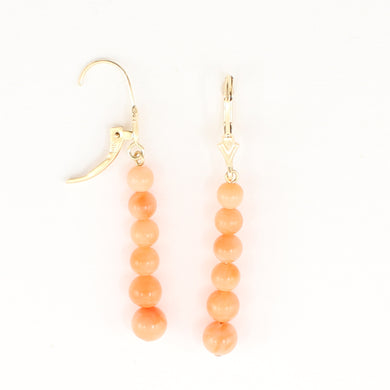 1300624-Pink-Coral-Beads-14K-Yellow-Gold-Leverback-Earrings