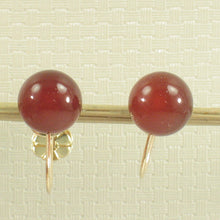 Load image into Gallery viewer, Carnelian Gemstone  Earrings Non Pierced French Screw Back 14k Yellow Gold