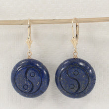 Load image into Gallery viewer, Natural Gemstone Blue Lapis 14k Yellow Solid Gold Leverback Earrings