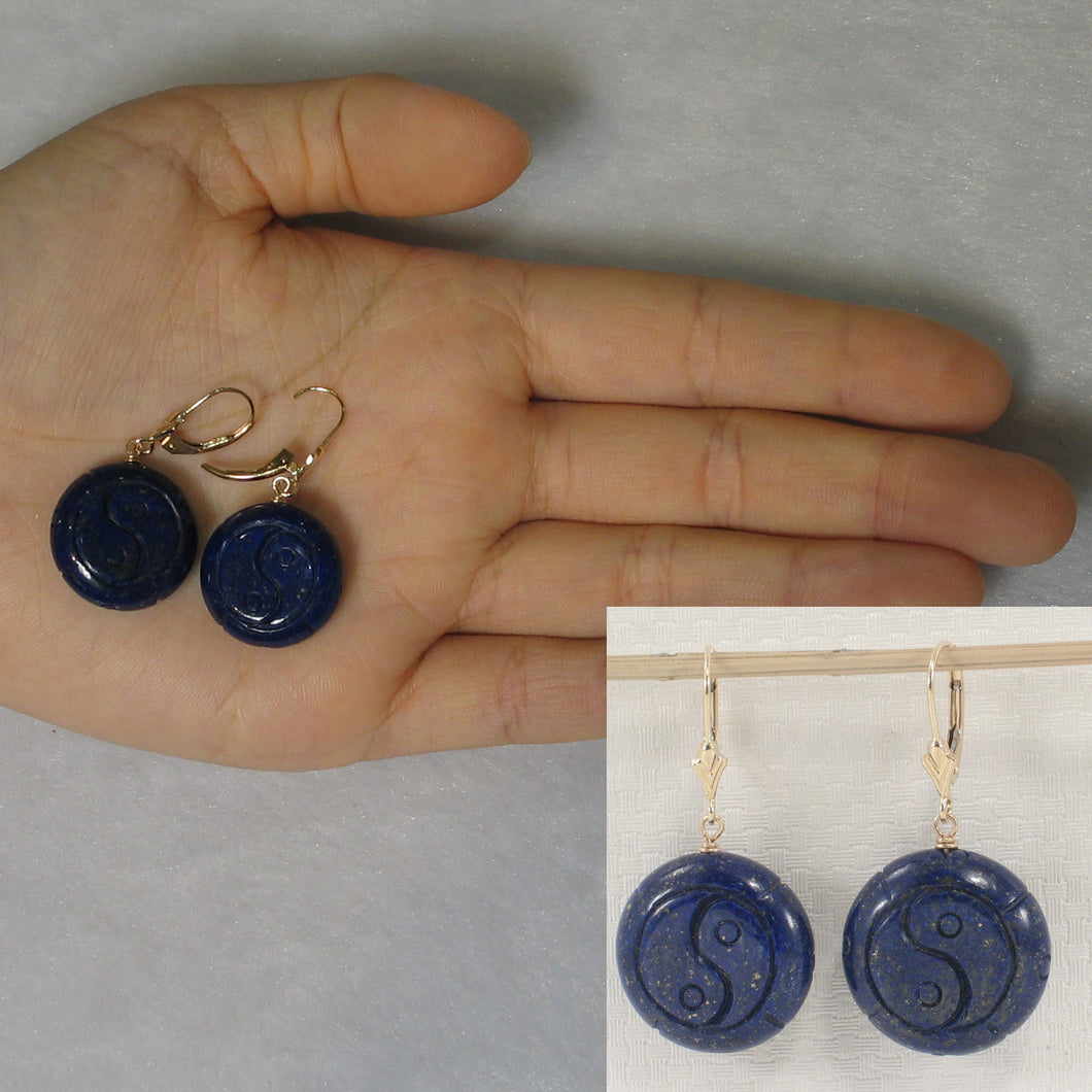 Natural Gemstone Blue Lapis 14k Yellow Solid Gold Leverback Earrings