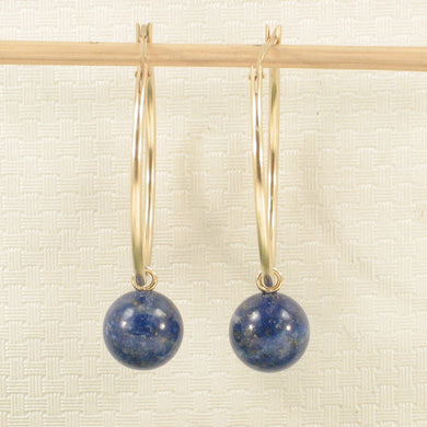 14k Yellow Gold 25 X 1.25mm Hoop 8-8.5mm Blue Lapis Lazuli Dangle Earrings