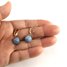 Load image into Gallery viewer, Genuine Aquamarine 14K Yellow Gold Ball Drop Earrings