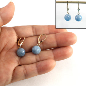 Genuine Aquamarine 14K Yellow Gold Ball Drop Earrings